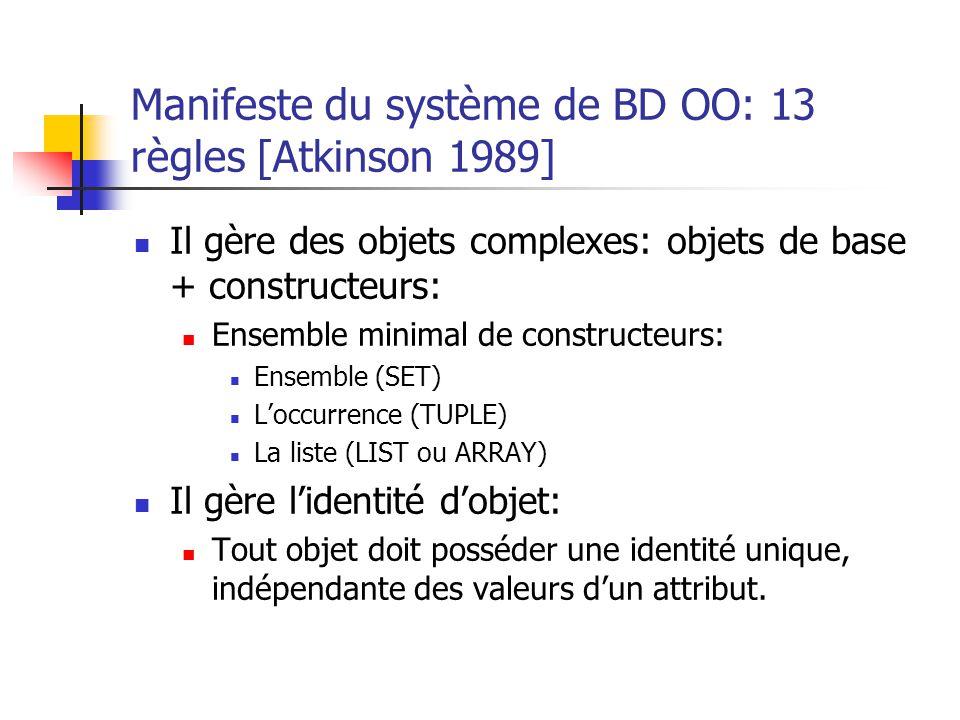 Manifeste du système de BD OO: 13 règles [Atkinson 1989]